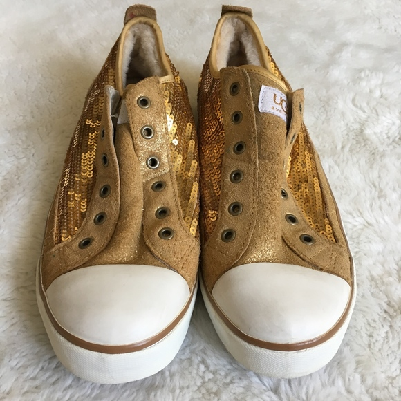 368600fdf2e UGG Laela Laceless Gold Sneakers Sequins Size 9